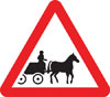 Horse drawn vehicles likely to be in road ahead